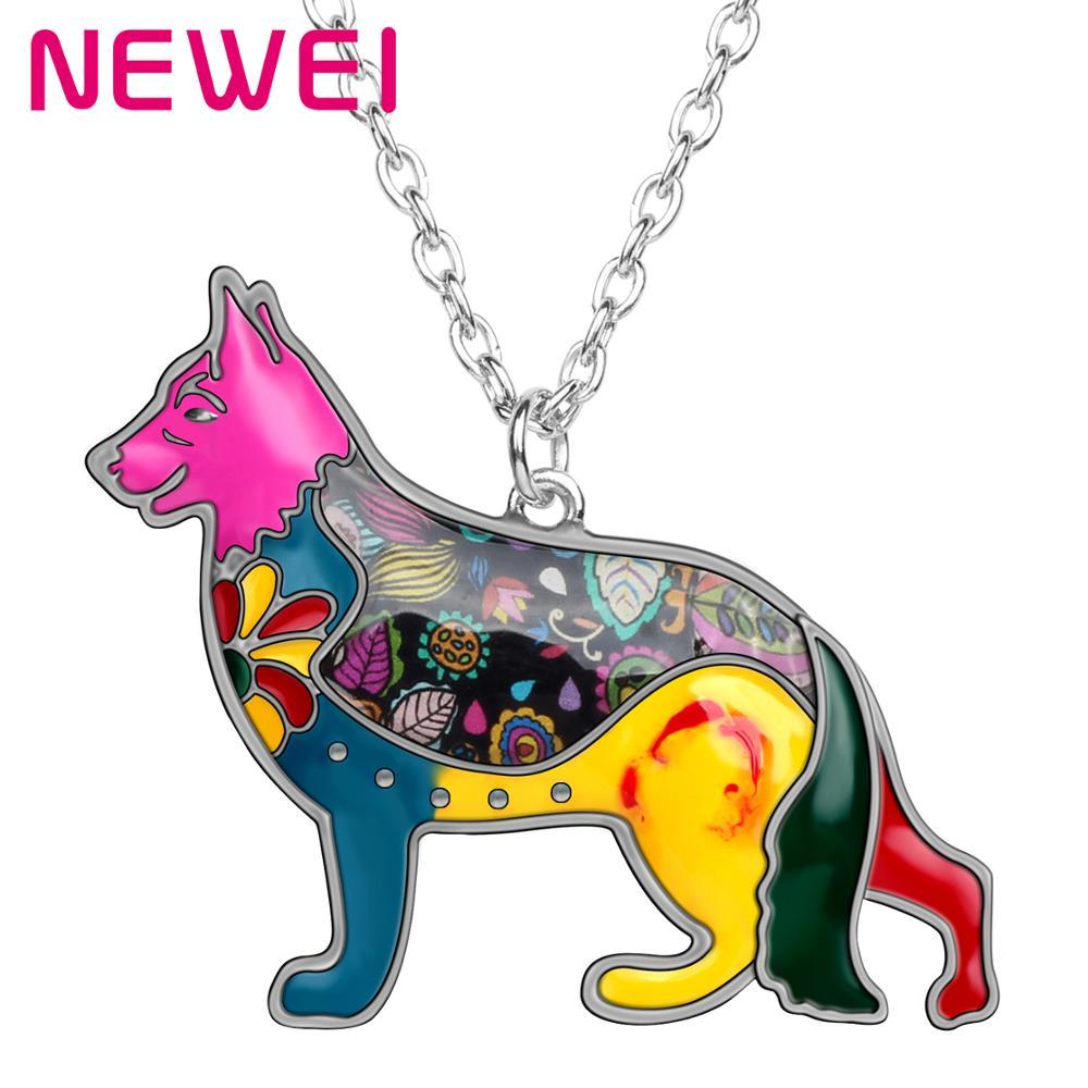Collar con colgante de perro pastor alemán de aleación con esmalte llamativo de Bonsny, elegante joyería de Animal para mujeres y niñas, regalos para amantes de las mascotas