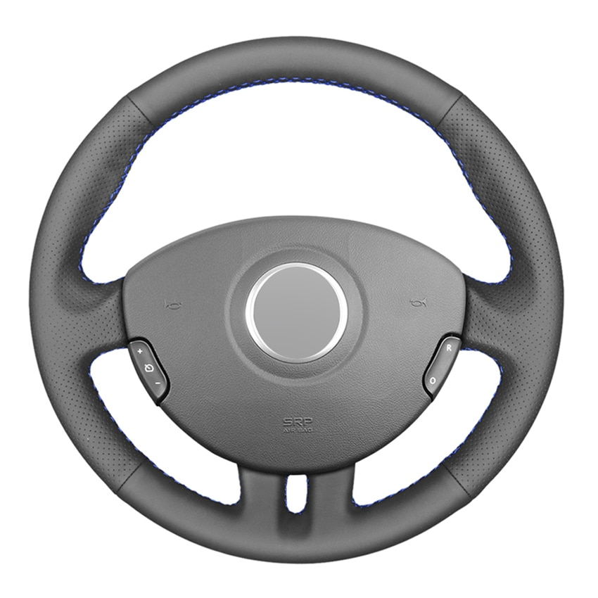 Black PU Faux Leather DIY Hand-stitched Car Steering Wheel Cover for Renault Clio 3 2005-2013 Clio 3 RS 2005-2013