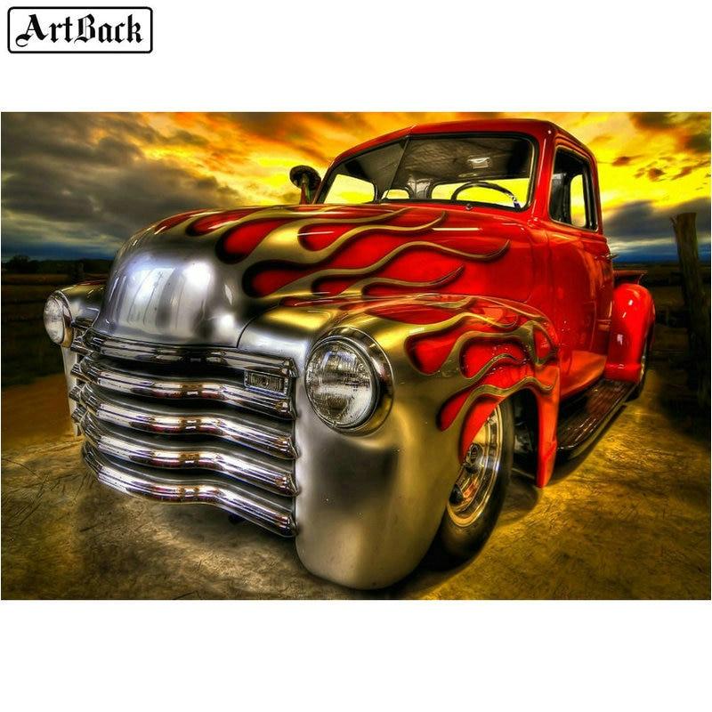 5d алмазная живопись красный грузовик шаблон полная квадратная автомобиль огонь