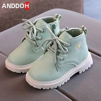 size 21 30 children casual wear resistant leather boots kids daisy pattern martin boots girls boys baby anti slip toddler shoes