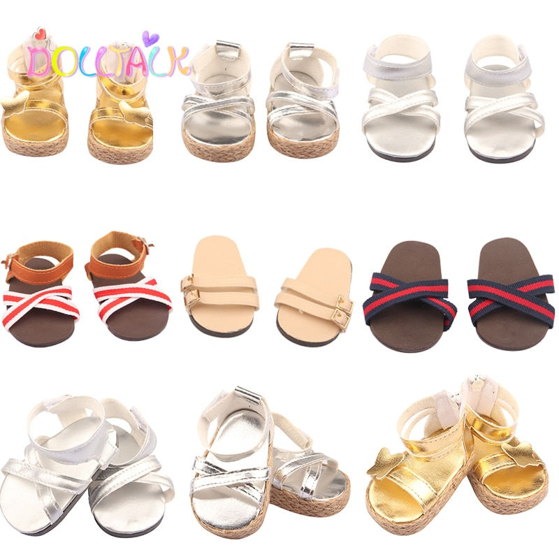 Fashion 43 Cm New Baby Born Doll Overlapping Bowknot Shoes Smooth Gold Silver Color Girl Sandal For