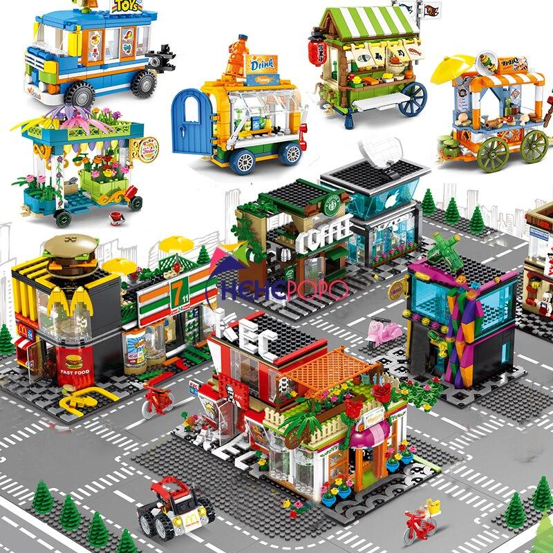 Cidade vista de rua mininature loja de alimentos varejo café restaurante arquitetura casa modelo blocos construção brinquedos