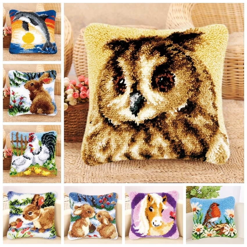 Smyrna Tapijt Kussen Knooppakket juegos de aguja de lengüeta alfombra de lona Animal gato punto de cruz funda de almohada en blanco lienzo klink Haak Woolens