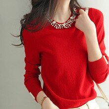 Winter Clothes Knitted Woman Sweaters Beading Pullovers Spring Autumn Basic Womens Jumper Slim Women