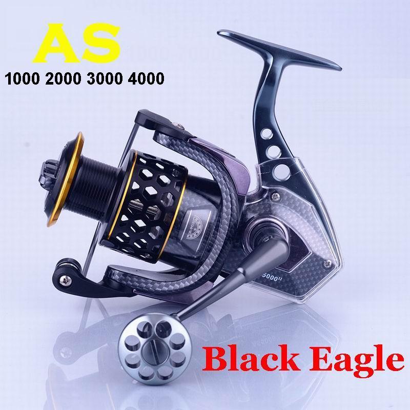 AS1000 2000, 3000 de 4000 Lieyuwang negro luz del Águila de aleación de aluminio de pesca carrete 15 + 2 rodamientos 4,7 1 260-310g AS2000 AS3000 AS4000