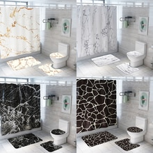 Marble Grain Shower Curtain Bath Mat Set Waterproof Bathroom Shower Curtain And Rug Set Bath Decor Shower Curtain Set Bath