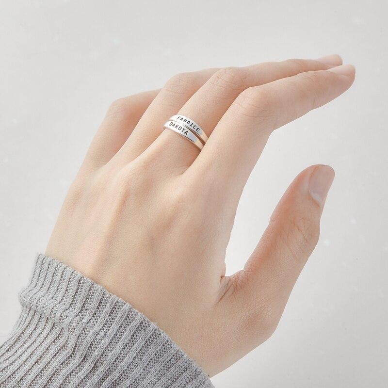 Anillos de nombre personalizados para Mujer, joyería de moda, anillos de boda...