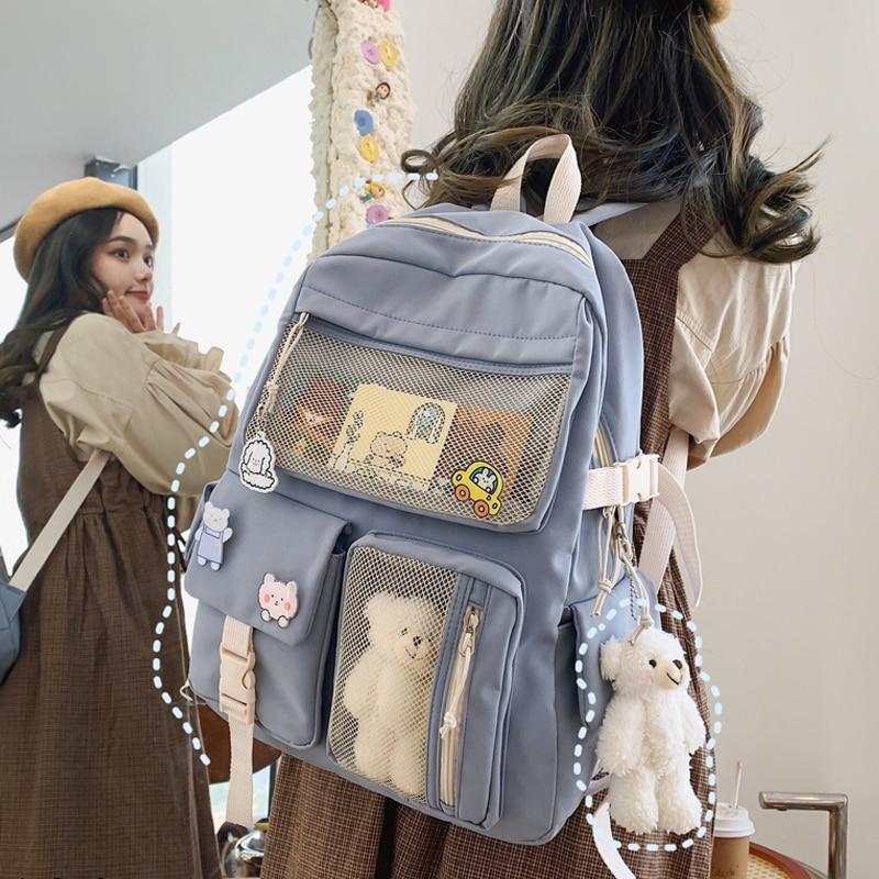 JULYCCINO-حقيبة ظهر نسائية بإبزيم ، حقيبة مدرسية لطيفة ، لون الحلوى ، حقيبة كتف للمراهقين