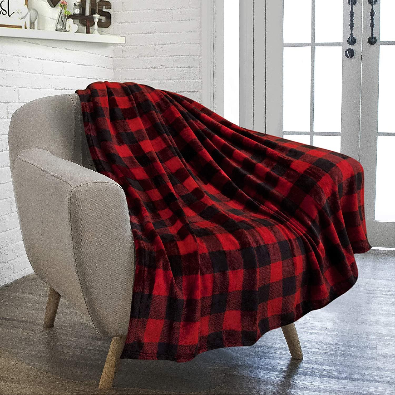 بطانية من الصوف بنمط جاموسي شيربا ، منقوشة باللونين الأحمر والأسود ، من القطيفة المزخرفة ، دافئة وناعمة ، للأريكة