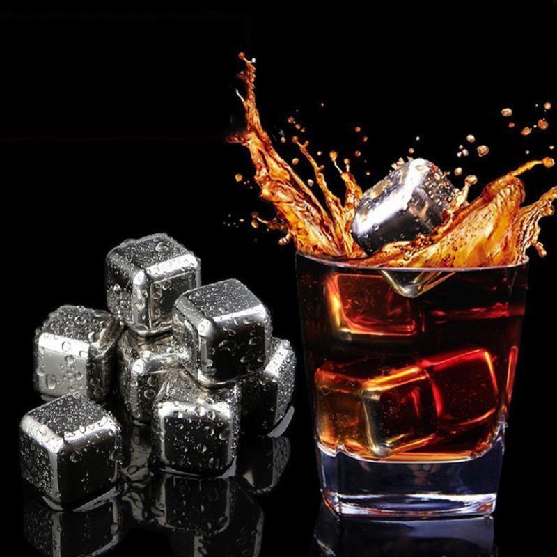 Cubos de hielo reutilizables de acero inoxidable con piedras para enfriar Whisky, hielo, vino, piedras para enfriar Whisky, utensilios de cocina para Bar