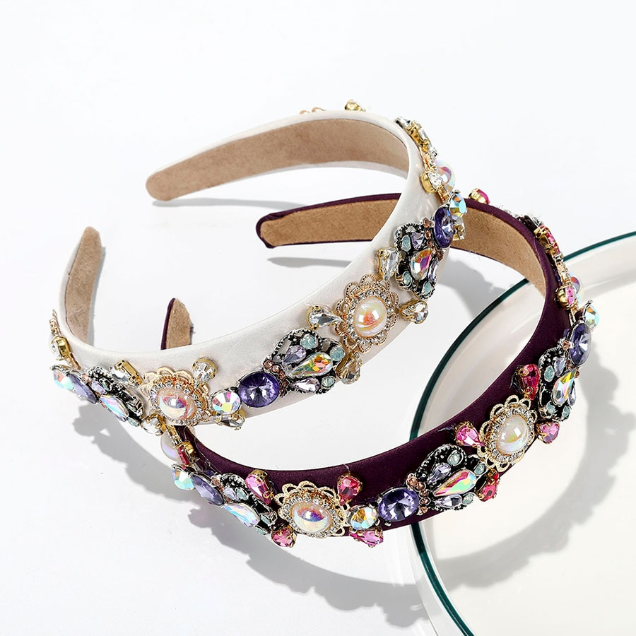 Haimeikang pérola strass bezel bandana retro moda cabeça hoop headwear para as mulheres elegante acessórios de cabelo