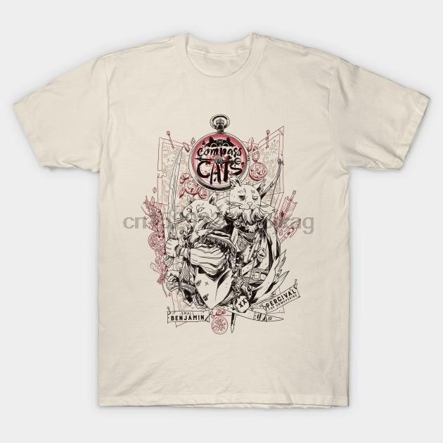 Camiseta para hombre Compass Cats Lineart camiseta para mujer