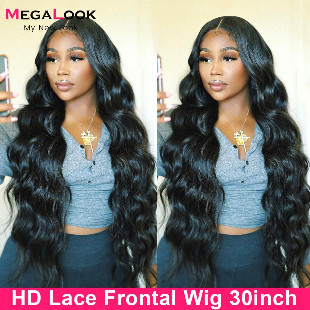 180 Density Body Wave Lace Front Wig 28 30 Inch Transparent Lace Frontal Wig Remy Brazilian Wavy T Part Human Hair Lace Wigs