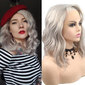 DANBO Lace Front Short Curly Hair Wig Silver Gray Ladies High Temperature Daily Wig Wavy Wig