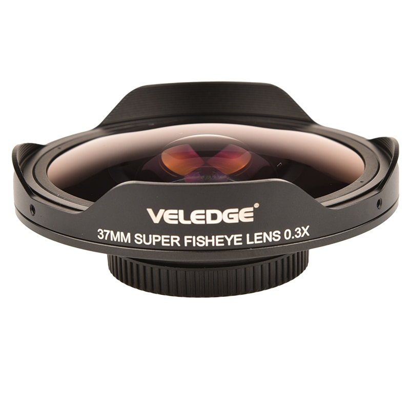 VELEDGE Ultra Fisheye Lens Adapter 37MM/43MM 0.3X HD Fisheye Wide Lens Adapter with Hood Only for Video Cameras Camcorders enlarge