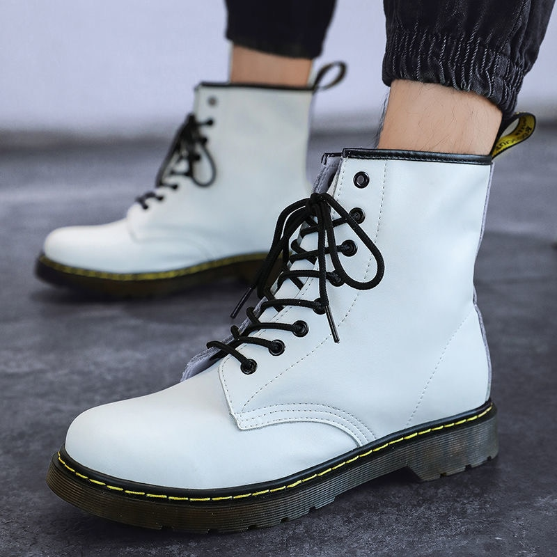 Белые ковбойские ботинки в стиле ретро больших размеров, мужские зимние ботильоны на платформе унисекс, Повседневные Удобные мужские кожан...