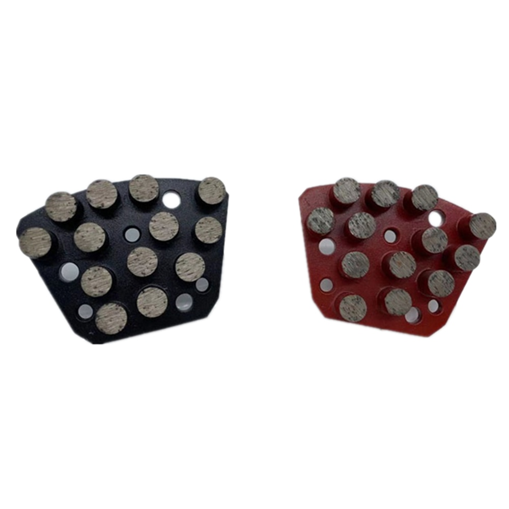 HT Thirteen Round Segments Diamond Grinding Shoes Floor Polishing Block Trapezoid Grinding Head for Iron Horse Machine 12PCS