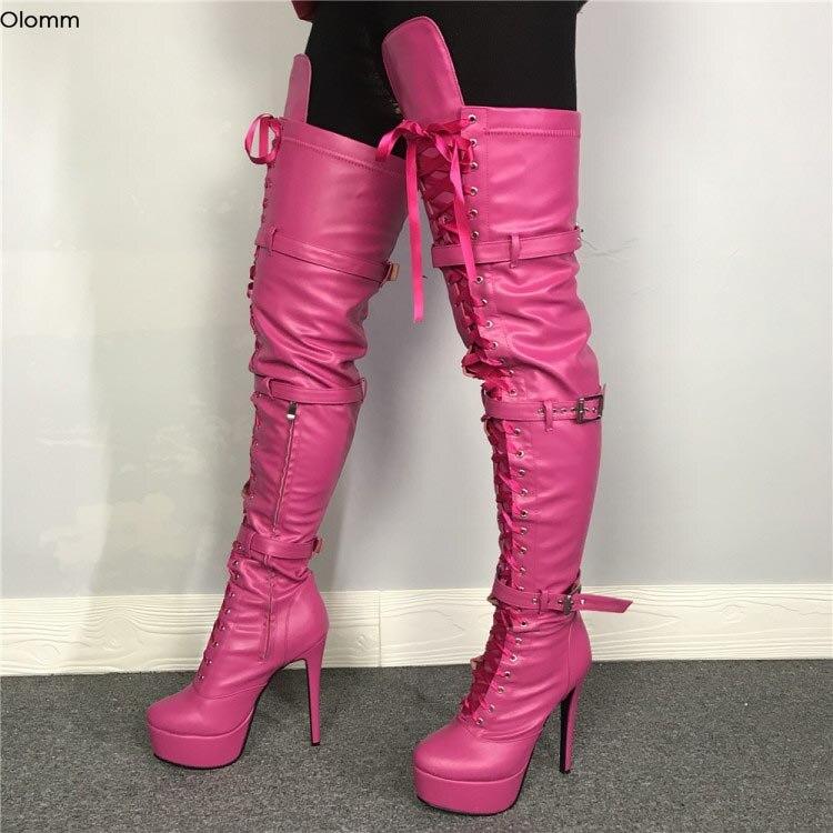 Olomm/женские сапоги до бедра на платформе ручной работы сапоги на высоком каблуке-шпильке Клубная обувь цвета фуксии с круглым носком женска...