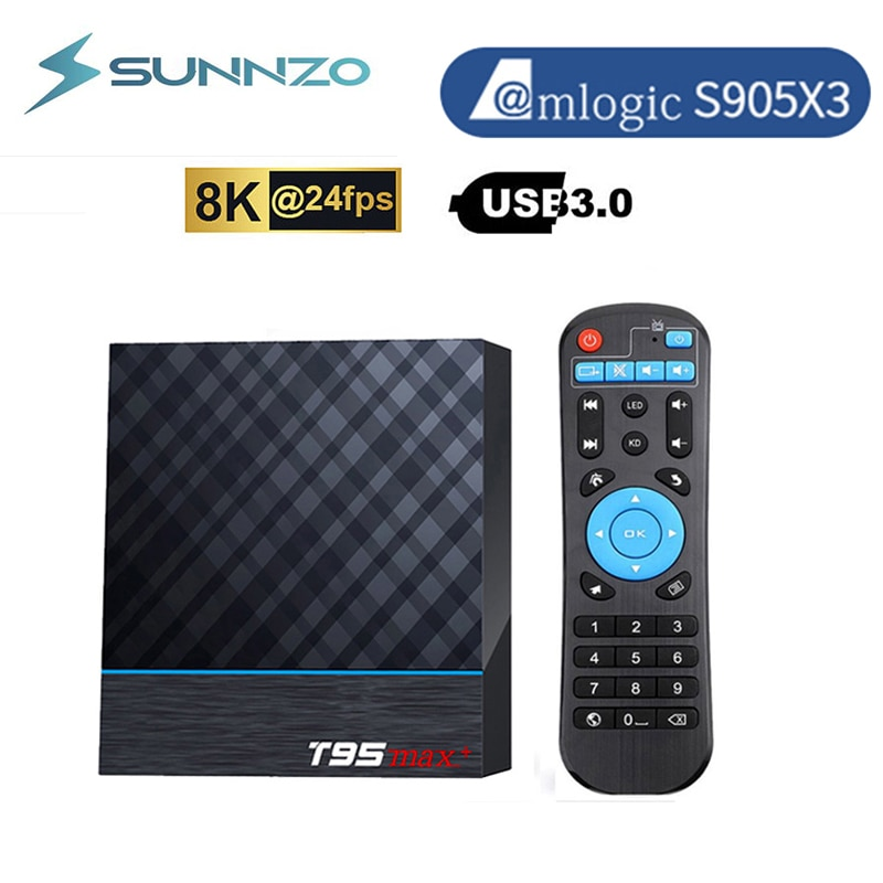T95 ماكس زائد الذكية صندوق التلفزيون أندرويد 9.0 Amlogic S905X3 4GB 64GB جوجل 1000M مجموعة صناديق 8K ميديا بلاير 2.4G & 5.8G واي فاي T95MAX