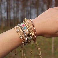 zhongvi miyuki beads bracelet for girl bohemian colorful jewelry adjustable jewellery rhinestone pulsera femme heart bracelets