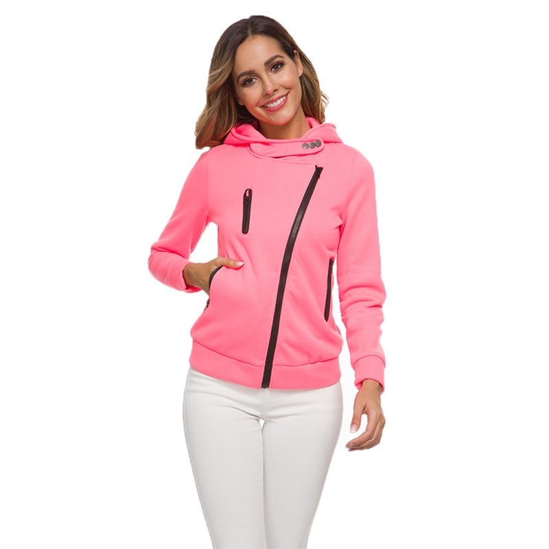 Hoodies Women Black White Green Red 14 Colors XS-3XL Plus Size Sweatshirts Autumn Winter Loose Zipper Plus Velvet Hoodie CX515