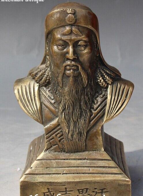 Decoratie brons factory outlets Tibet Zilver Yuan Dynastie Brons Carving Genghis Khan Chinggis Khaan Chinggi Khan Buste Sta