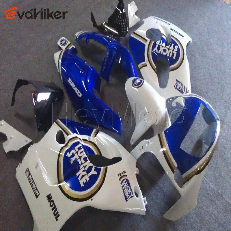 Carène plastique pour moto personnalisé   Pour 1996-2000 GSXR600 1996 1997 1998 1999 + vis + bleu blanc, carrosserie ABS H2