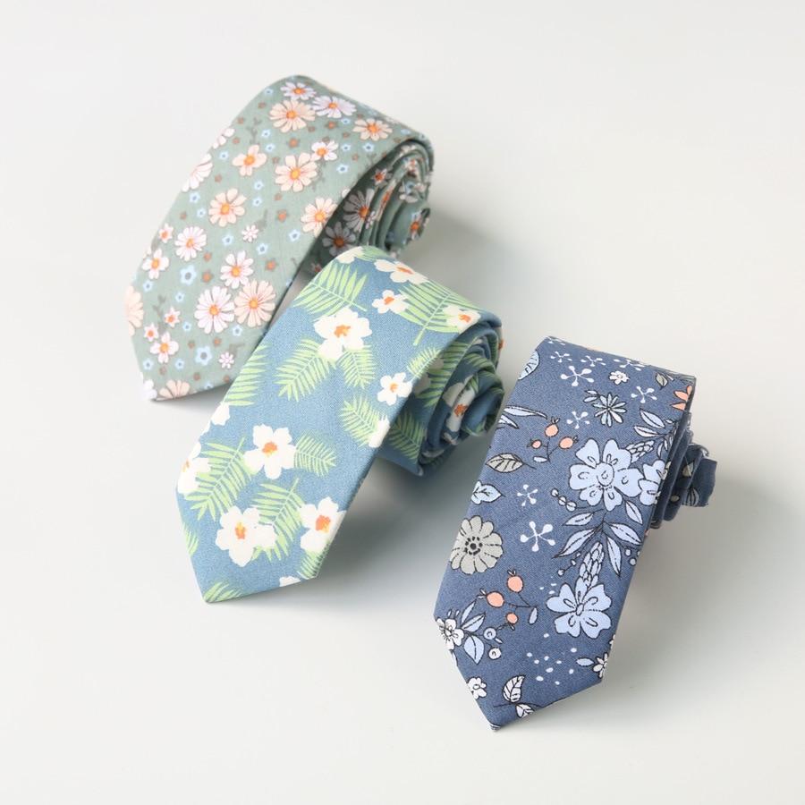 Corbata Sitonjwly de 6cm para hombre, de algodón, con estampado Floral, corbatas para el cuello, lazo estrecho para vestido de boda, logotipo personalizado para Mujer