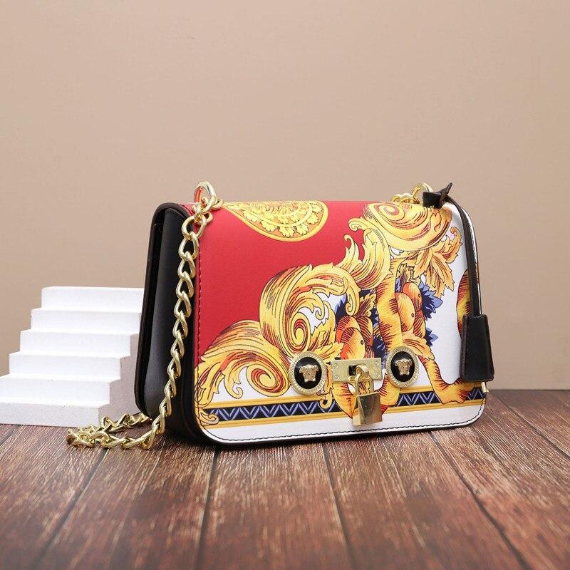 Fashion Printing Chain Crossbody Bag 2021New Women Luxury Handbags Women Bag Split Leather Purses an