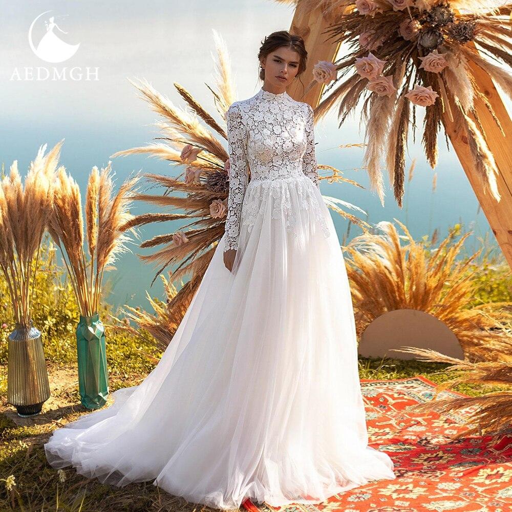 Get Aedmgh A-Line Beach Wedding Dresses 2021 High Neck Long Sleeve Bride Dress Lace Appliques Simple Court Train Boho Bridal Gowns