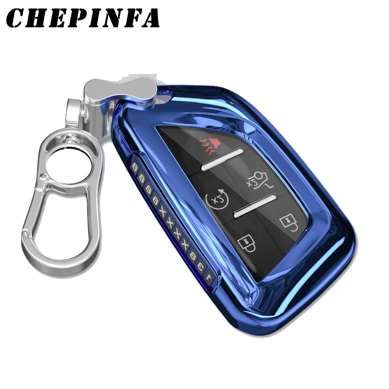 TPU Car Key Case Full Cover For Cadillac CT5 2019 2020 5 Button Smart Remote key protective shell cover keychain