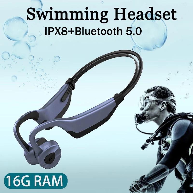 2021 أحدث السباحة سماعات توصيل العظام بلوتوث اللاسلكية سماعة 16GB MP3 مشغل موسيقى IPX8 مقاوم للماء سماعات تحت الماء