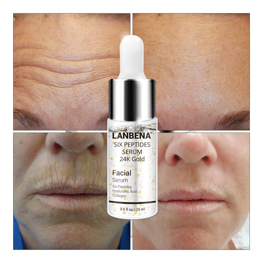 LANBENA sérum visage Six Peptides dissolvant naturel peau acide hyaluronique collagène Anti-âge rides blanchissant soins de la peau