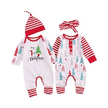 Baby Christmas Romper, Long-Sleeved Jumpsuit, Fall Round Collar Tree Stripes Printed Crotch Buttons