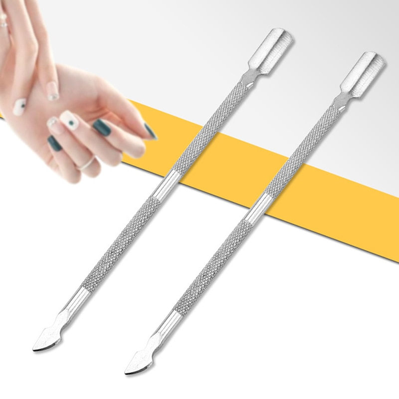1PCS Nail Pusher Double Head Stainless Steel Cuticle Nail Pusher Manicure Tool Dead Skin Push For Na