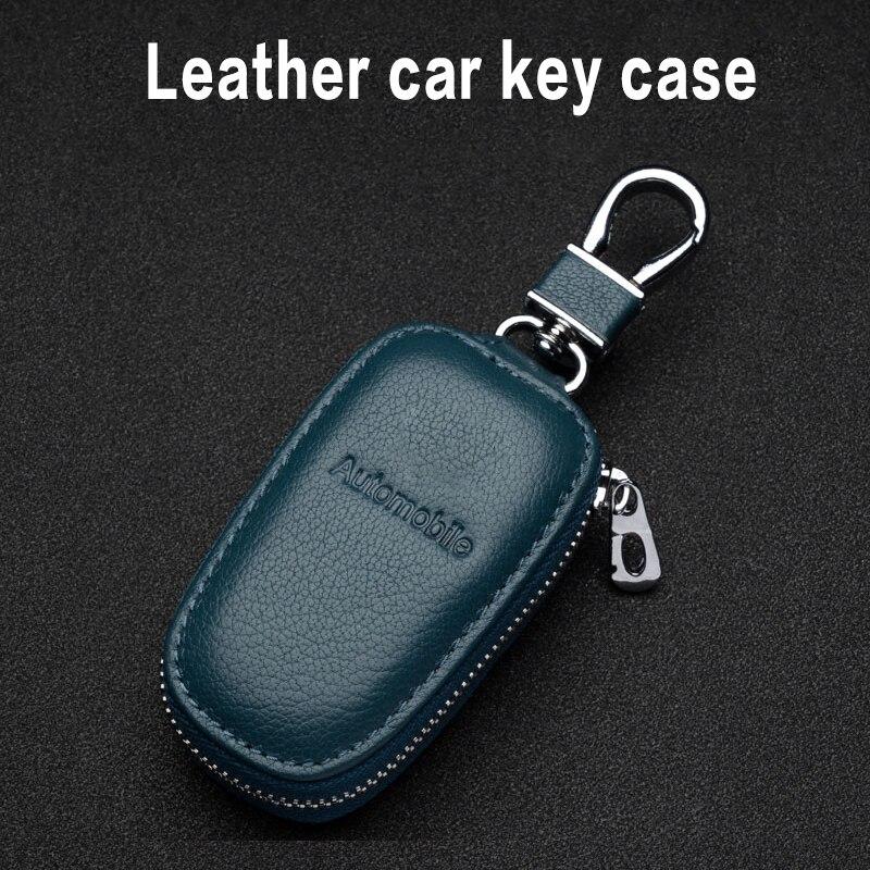 Универсальный чехол для автомобильных ключей, кожаный чехол для автомобильных ключей на молнии, кожаный чехол для смарт-ключей