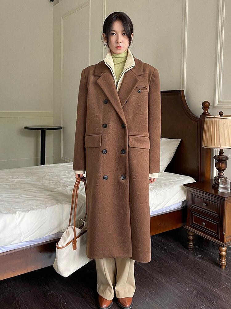 Wool Windbreaker Spring And Autumn 2021 New Korean Woolen Coat Women's Medium And Long Woolen Coat K