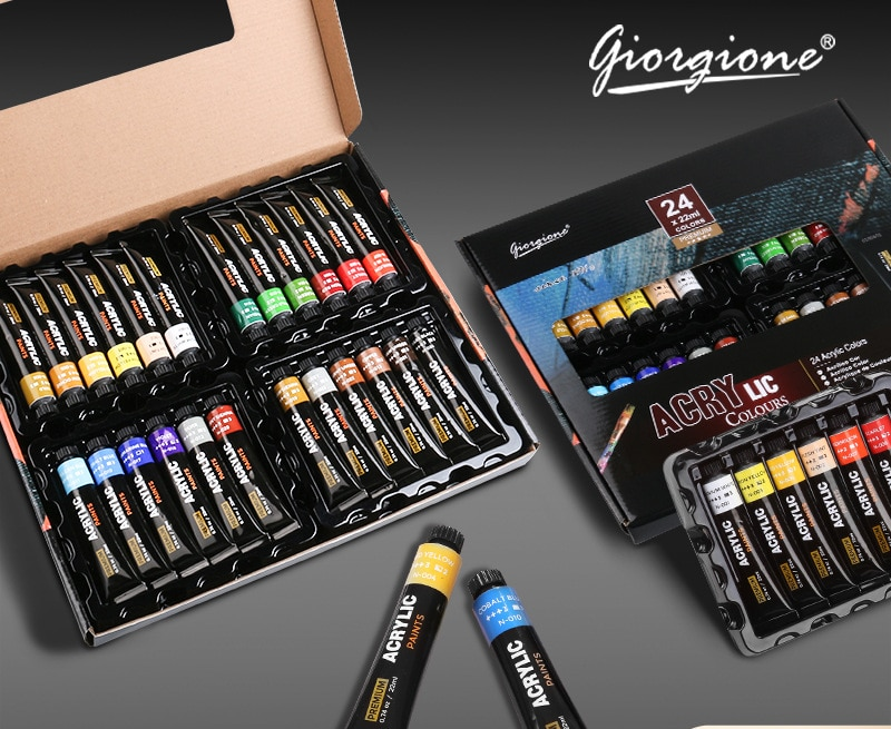 24PCS/Set Giorgione Acrylic Pigment Set Large Capacity 22ml Hand-painted DIY Wall Painting Waterproof Textile Factory Outlet