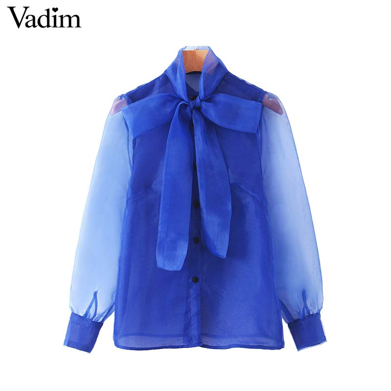 Vadim mujeres chic organza retazos blusa lazo collar manga transparente camisa mujer elegante blusas LB550