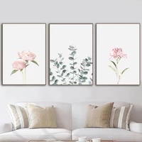 pink peony flower eucalyptus leaf canvas painting nordic minimalist poster and print wall art picture for living room home decor