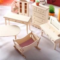 wooden dollhouse mini room prop cradle cabinet mold dinner dressing table model wooden furniture teatable miniatures room decor