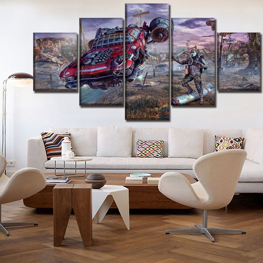 Pintura da lona Arte Da Parede Impresso 5 Pedaço Jogo Fallout Cartaz Carro Modular E Pessoas Pictures Para Sala de estar Moderna Casa decoração