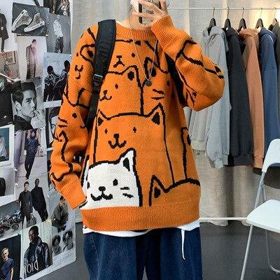 Японский свободный свитер с котом Мужской Повседневный свитер с круглым вырезом трендовая Корейская версия красивых курток для пар