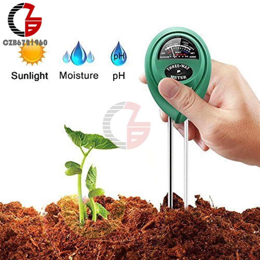 3 in 1 Soil PH Meter Sunlight PH Tester Garden Flowers Soil Moisture Sensor Meter Plants Acidity Humidity PH Monitor Detector