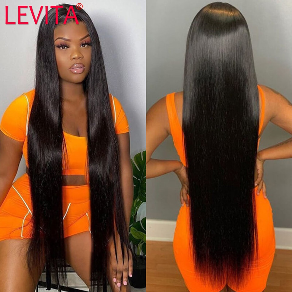 LEVITA 28 30 inch lace front long hair wig brazilian straight lace front human hair wigs for black women 4x4 lace closure wig