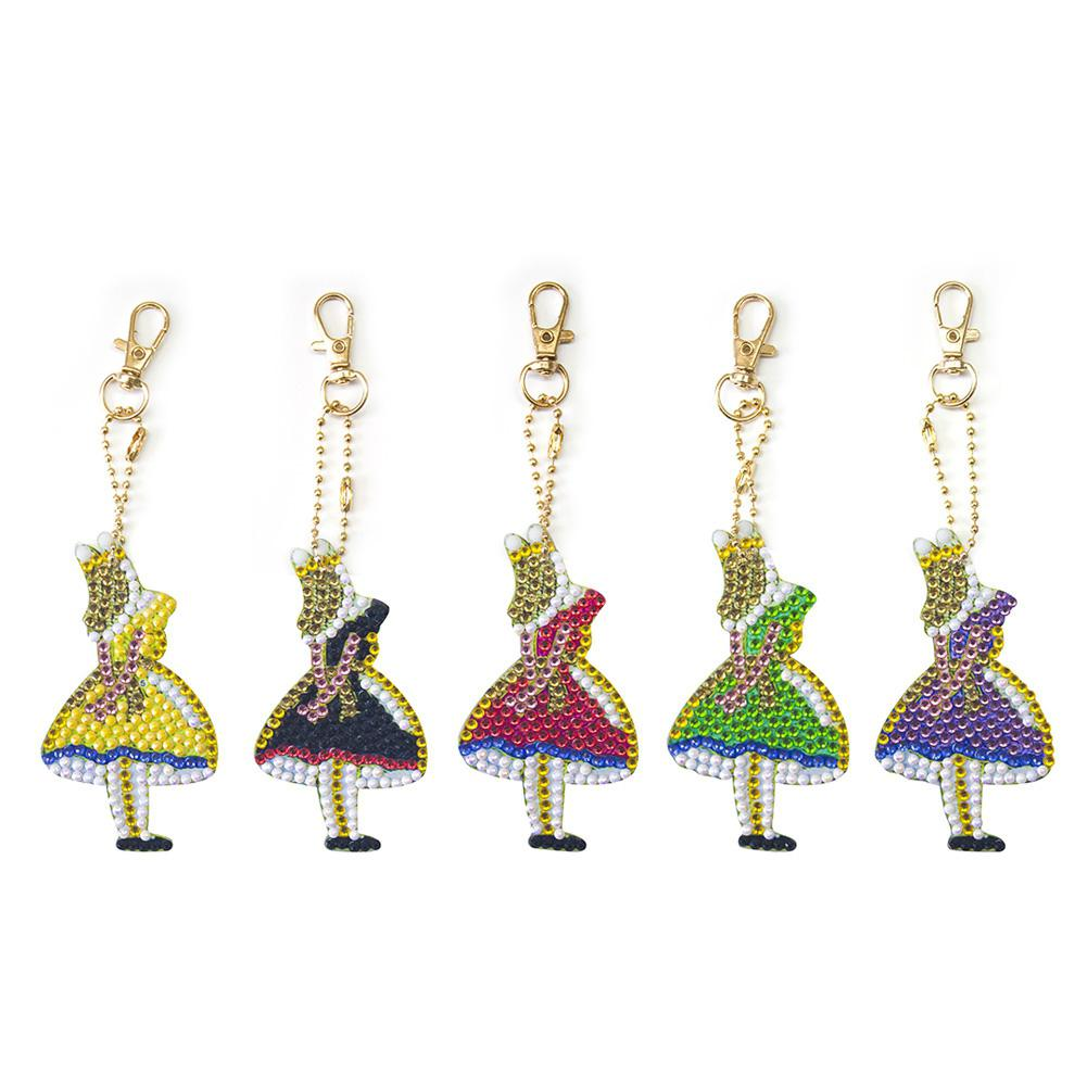 GloryStar 5Pcs/Set Girl Shape Keychain Diamond Painting DIY Hanging Pendant Carfts for Kids