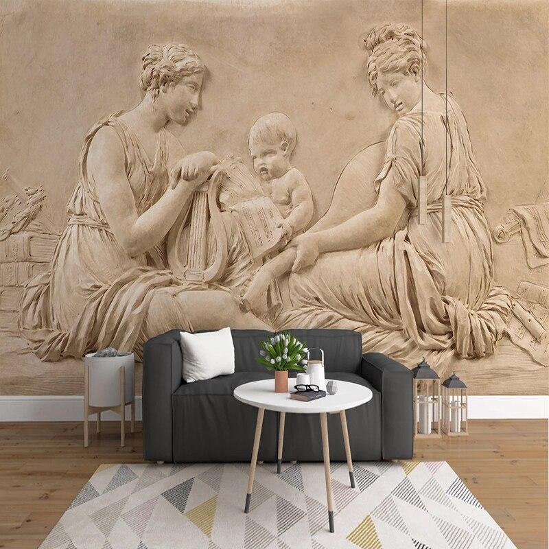 Personalizado mural de parede 3d em relevo beleza estátua estilo europeu sala estar sofá quarto fundo foto papéis decoração da sua casa