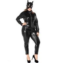 Umorden Carnival Party Halloween Costumes Adult Women Leather Cat Lady Catwoman Costume Catsuit Jumpsuit Jacket Plus Size XXXL