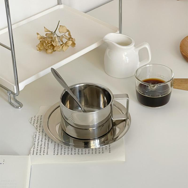الفولاذ المقاوم للصدأ طقم فناجين قهوة فنجان شاي طبق ملعقة الحليب أكواب مياه أدوات مطبخ درينكوير