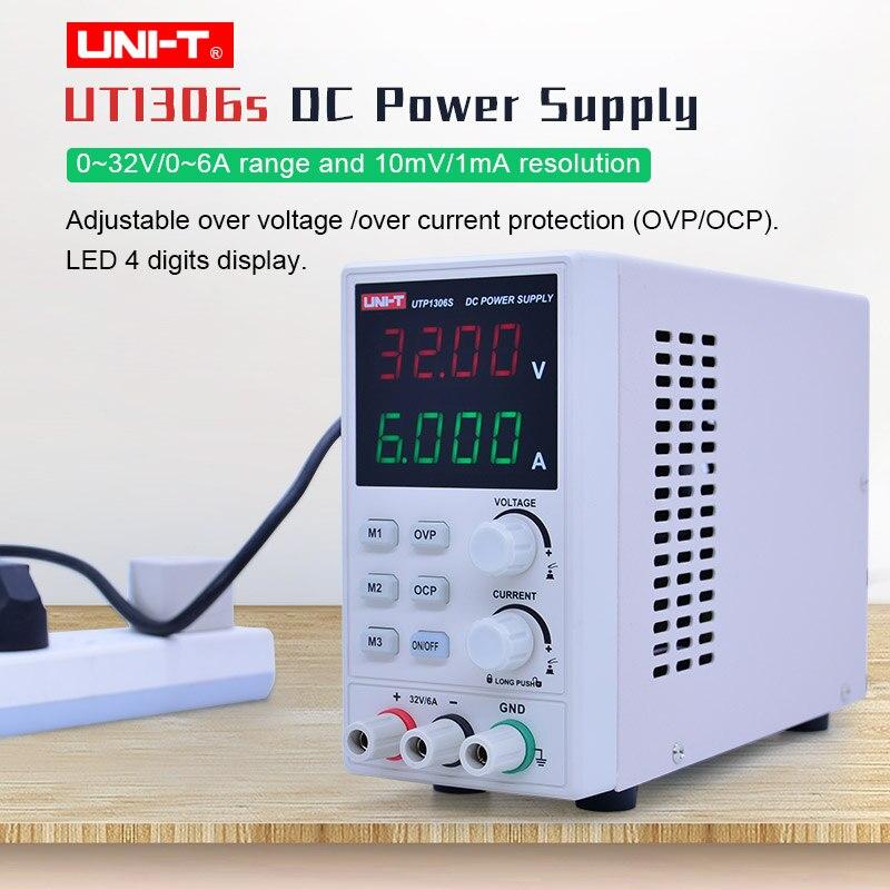 UNI-T UTP1306S DC ينظم امدادات الطاقة LED الرقمية أنبوب 4 أرقام عرض 32V/6A AC 220V 50Hz التبديل dc الجهد المنظم